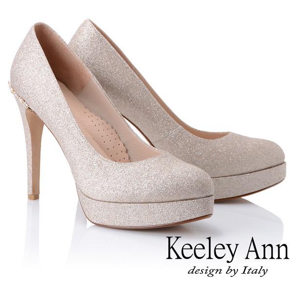 Keeley Ann高雅出眾~雅緻寶石點綴真皮軟墊新娘晚宴高跟鞋(金色885063237)