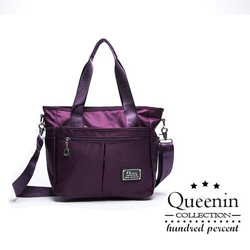 DF Queenin流行 - 簡約防潑水多隔層TWO-WAY百搭托特包-共2色