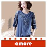 Amore 大碼女裝2018秋裝新款韓版休閒拼接刺繡上衣- 藍色