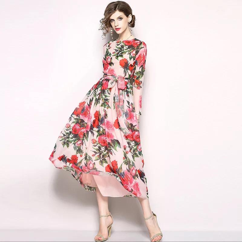 Olivia奧莉精品 異國風情大印花腰間綁帶洋裝 S~2XL 蕾絲 洋裝 連身裙 禮服 伴娘服 媽媽裝