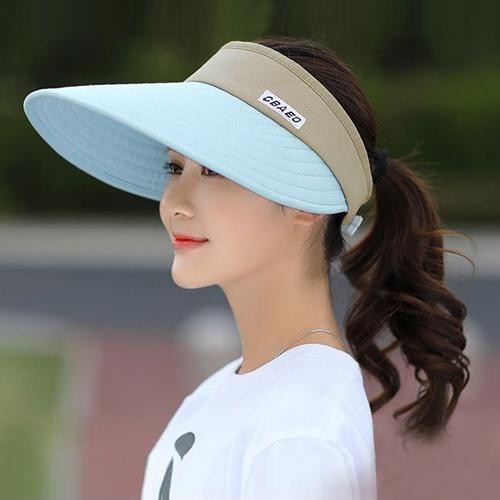 活力揚邑 寬大帽檐防曬可捲收抗UV空頂遮陽帽 -淺藍