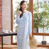 華歌爾睡衣-TACTEL素材 M-L 長袖圓領裙裝(藍)睡眠研究所
