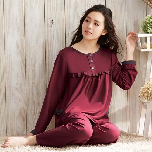 華歌爾睡衣-咖啡紗居家休閒M-L長袖睡衣褲裝(紅棕)