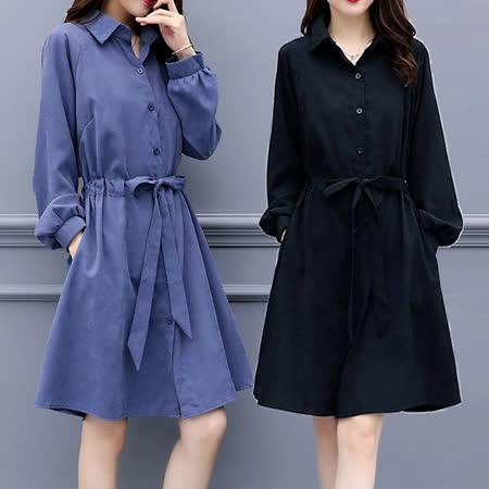 【麗質達人】8583綁帶長袖洋裝(XL-5XL)