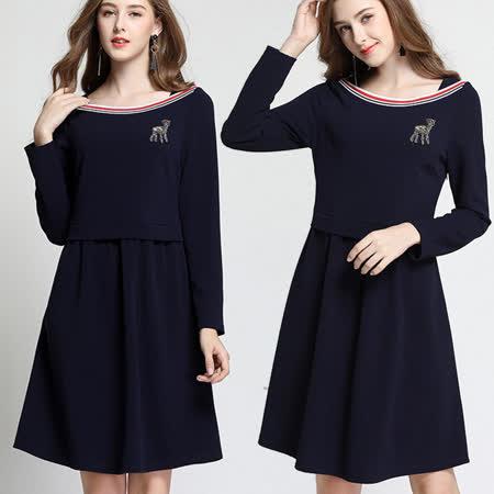 【麗質達人】6233黑色長袖洋裝(L-5XL)