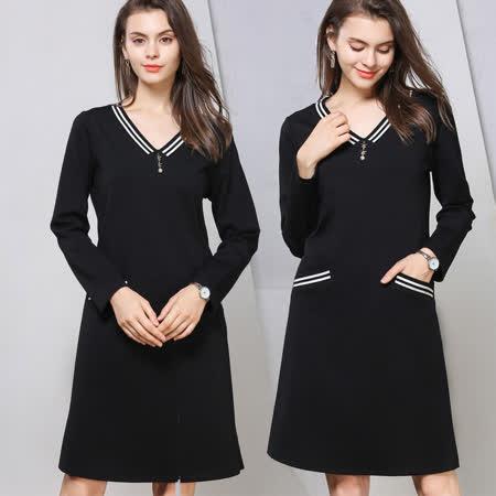 【麗質達人】76389簡約假二件洋裝(M-5XL)