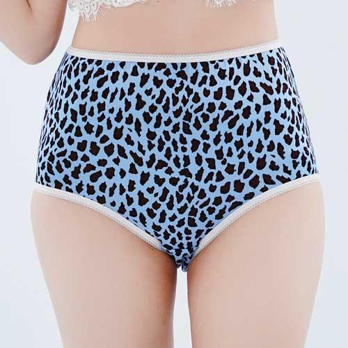 【Chlansilk闕蘭絹】經典豹紋100%蠶絲女內褲-8837-1(藍)