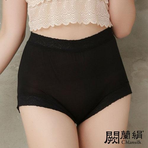 【Chlansilk闕蘭絹】典雅美人頂級40針『超高腰』包覆100%蠶絲女內褲-8796(黑)