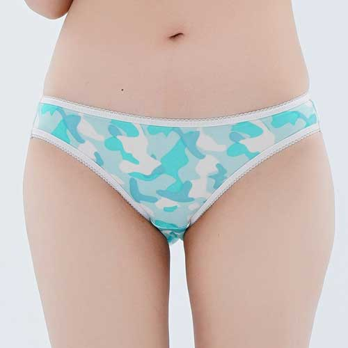 【Chlansilk闕蘭絹】性感迷彩100%蠶絲女內褲-88109-1(藍綠)