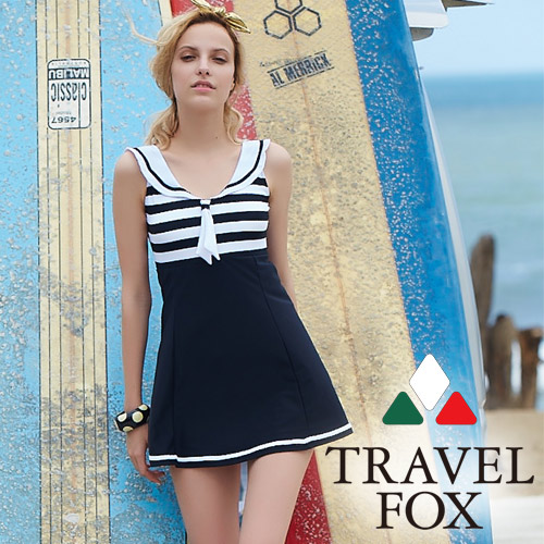 【旅狐TRAVEL FOX】海軍領大女連身帶裙泳衣c18710