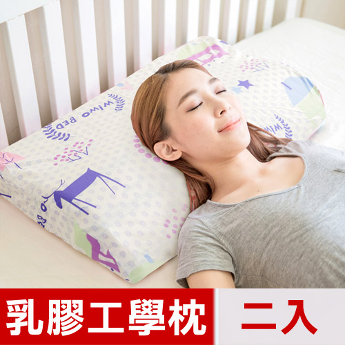 【米夢家居】原創夢想家園系列-成人專用~馬來西亞進口純天然乳膠工學枕(白日夢)二入