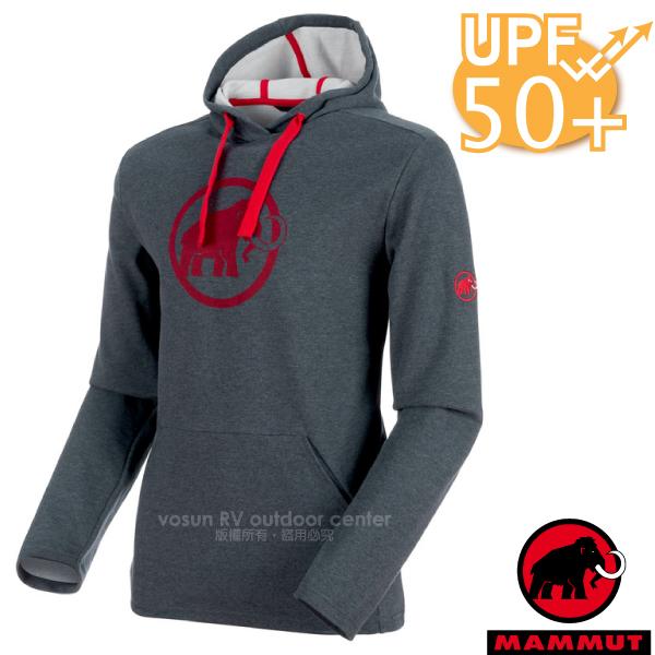 【瑞士 MAMMUT 長毛象】男新款 Logo ML Hoody 保暖連帽長袖上衣UPF50.運動休閑衫.長袖帽T/HeiQ Fresh Tech/登山滑雪/01381-00158 幻影黑