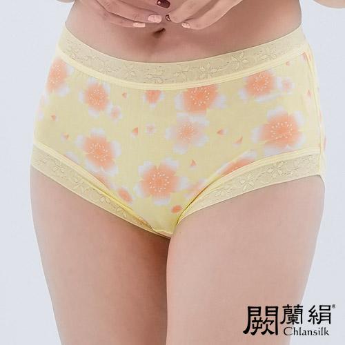【Chlansilk闕蘭絹】日系櫻花100%蠶絲女內褲-88111(黃)