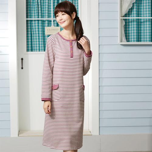 華歌爾睡衣-條紋細磨毛 M-L 長袖睡衣裙裝(紅)舒適簡單-家居服