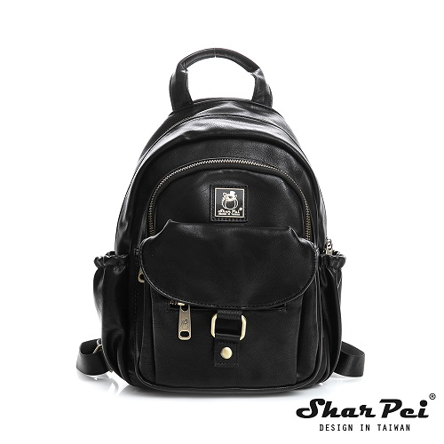 SharPei沙皮狗 - 城市漫遊 - 單肩兩用造型後背包 【SP-Z108K】典藏黑