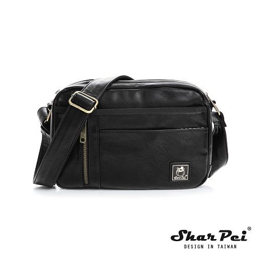SharPei沙皮狗 - 城市漫遊 - 多夾層幾何造型斜背包 【SP-Z030K】典藏黑