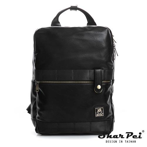 SharPei沙皮狗 - 城市漫遊 - 雙層拉鍊造型後背包 【SP-Z010K】典藏黑