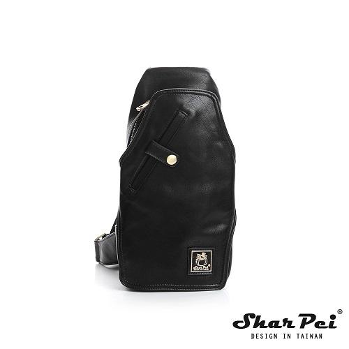 SharPei沙皮狗 - 城市漫遊 - 多夾層單肩胸包 【SP-Z007K】典藏黑