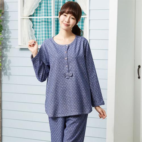 華歌爾睡衣-英倫風 M-L 長袖褲裝(甜美藍)舒適簡單-家居服