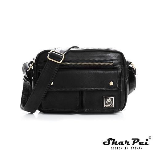 SharPei沙皮狗 - 城市漫遊 - 經典雙口袋斜背包 【SP-Z003K】典藏黑