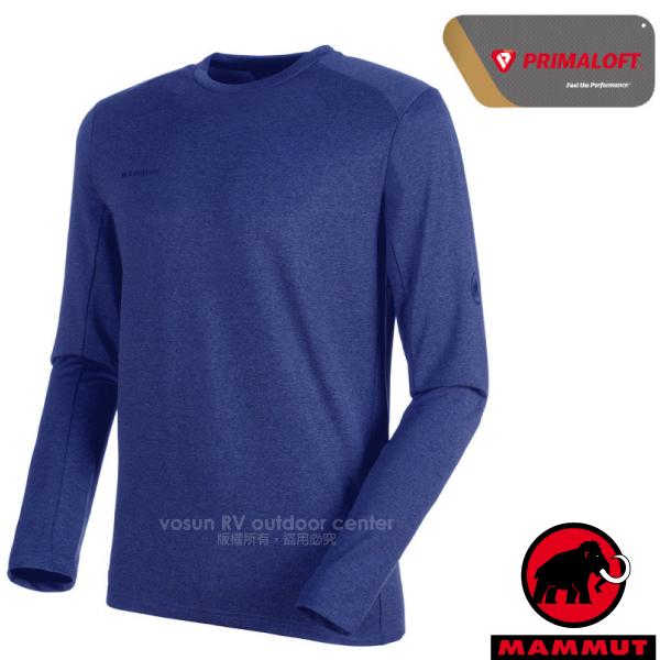 【瑞士 MAMMUT 長毛象】男新款 Runbold ML Crew Neck 長袖圓領休閒彈性上衣.休閒衫/Primaloft高性能快乾面料/00620-5967 群青藍