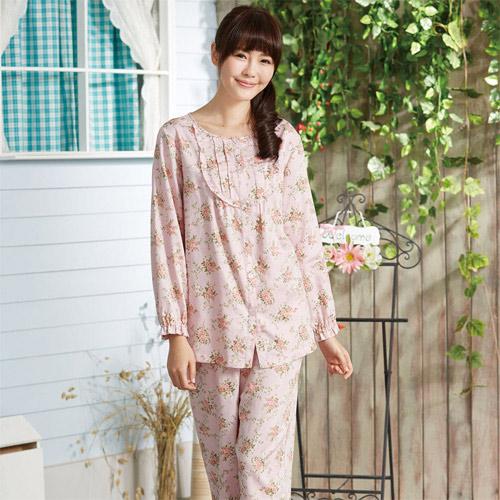 華歌爾睡衣-仕女玫瑰花 M-LL 長袖睡衣褲裝(粉)舒適簡單-家居服