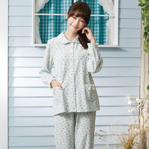 華歌爾睡衣-天鵝絨 M-L 長袖睡衣褲裝(藍)舒適簡單-家居服