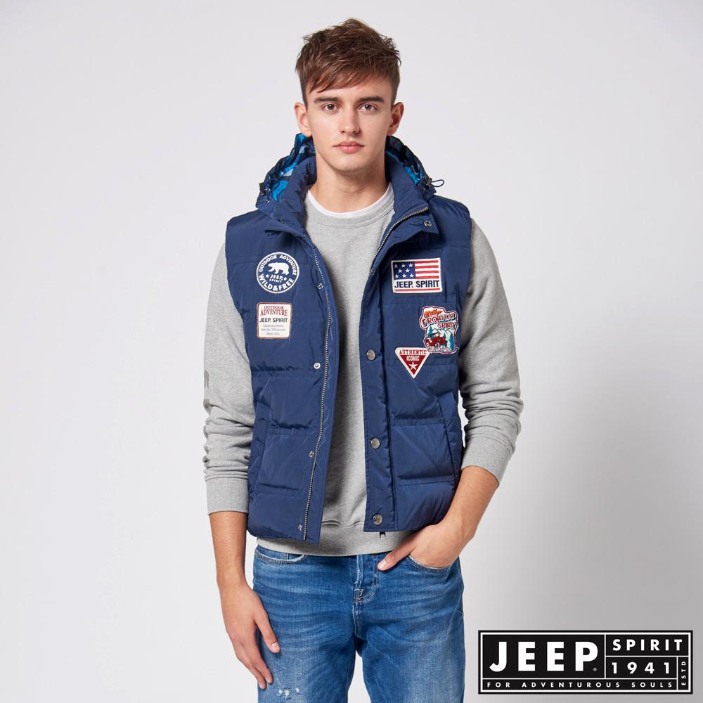 【JEEP】美式修身連帽羽絨背心 (藍)