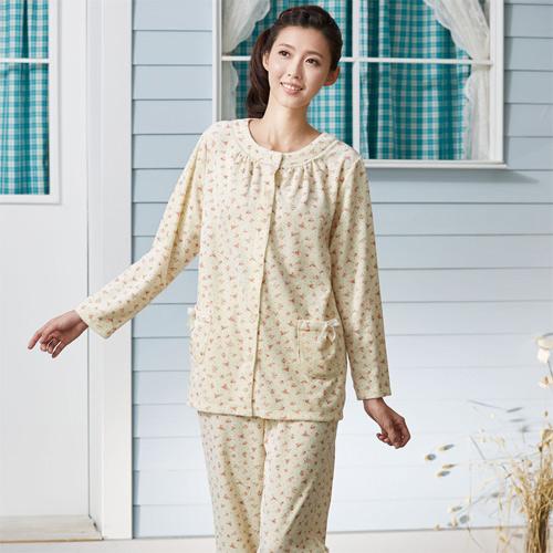 華歌爾睡衣-天鵝絨 M-L 長袖睡衣褲裝(黃)舒適簡單-家居服