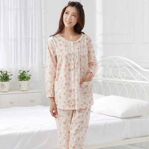 華歌爾睡衣-精梳棉印花居家服M-L兩件式睡衣(清新橘)舒適簡單-家居服
