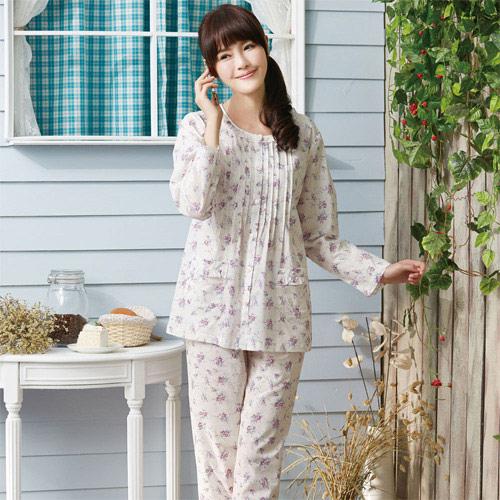 華歌爾睡衣-精梳棉印花居家服M-L兩件式睡衣(清新白)舒適簡單-家居服