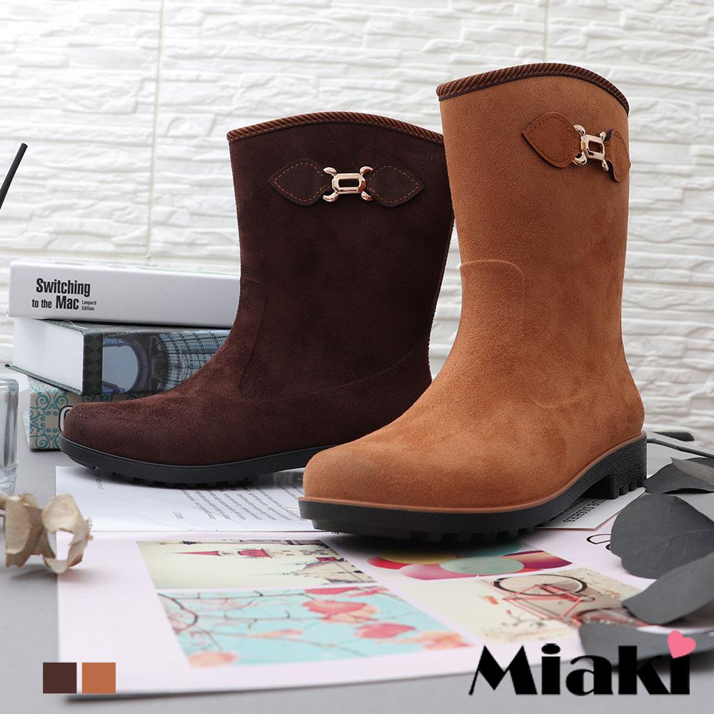 【Miaki】雨靴.雨天嚴選中筒低跟短靴 (棕色 / 咖啡色)