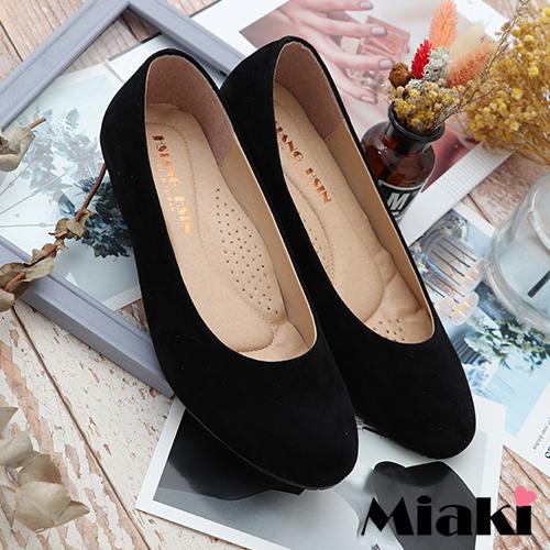 【Miaki】通勤鞋.經典必買舒適娃娃鞋 (黑絨)