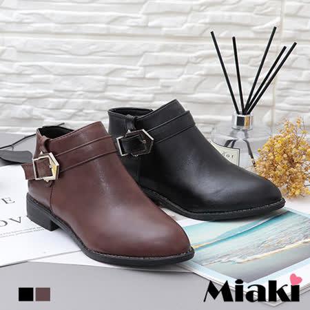 【Miaki】短靴.經典必備低跟尖頭踝靴 (卡其色 / 黑色)