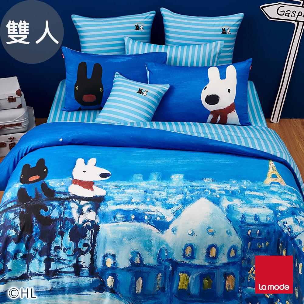 La mode寢飾  星空小巴黎環保印染100%精梳棉被套床包組(雙人)