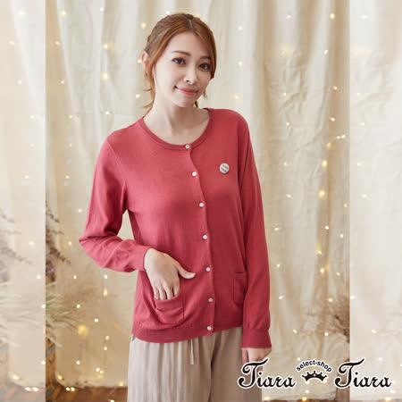 【Tiara Tiara】激安 單色排釦針織罩衫外套(藍/紅/黃)