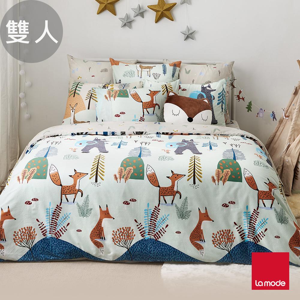 La Mode寢飾 森林小學環保印染100%精梳棉兩用被床包組(雙人)