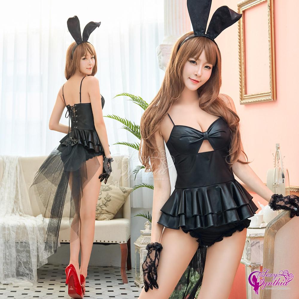 【Sexy Cynthia】角色扮演 誘惑黑色兔女郎角色扮演服四件組