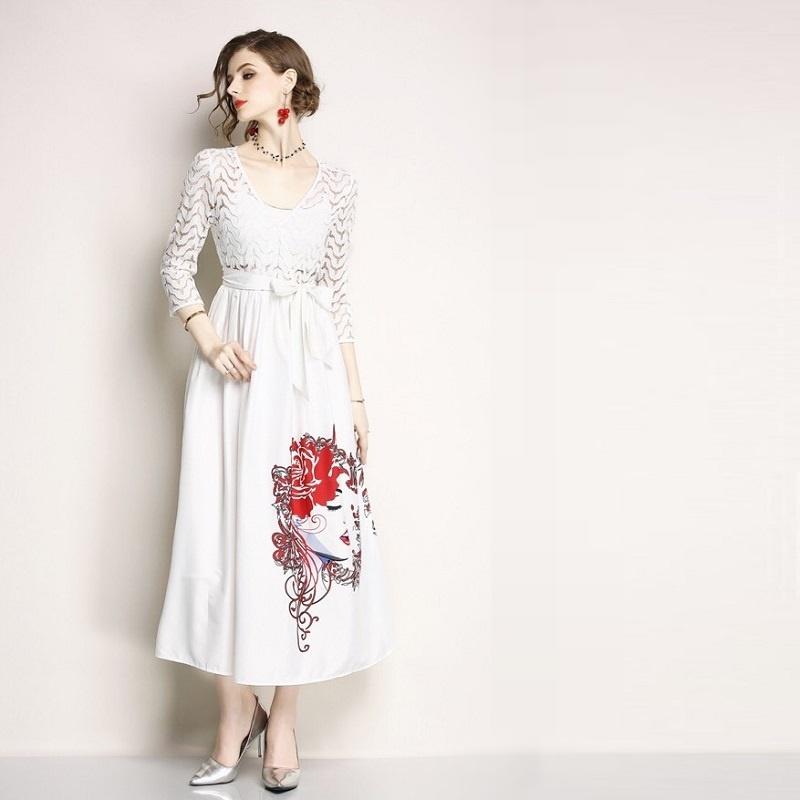 Olivia奧莉精品 絕世女伶純白綁帶長洋裝 S~2XL 蕾絲 洋裝 連身裙 禮服 伴娘服 媽媽裝