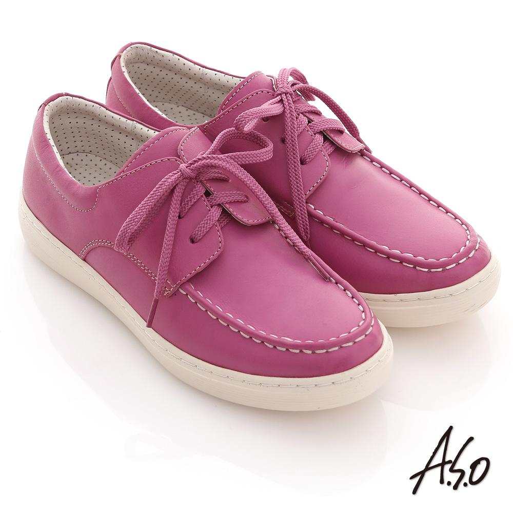 A.S.O 3D奈米系列 全真皮綁帶縫線休閒鞋(桃粉紅)