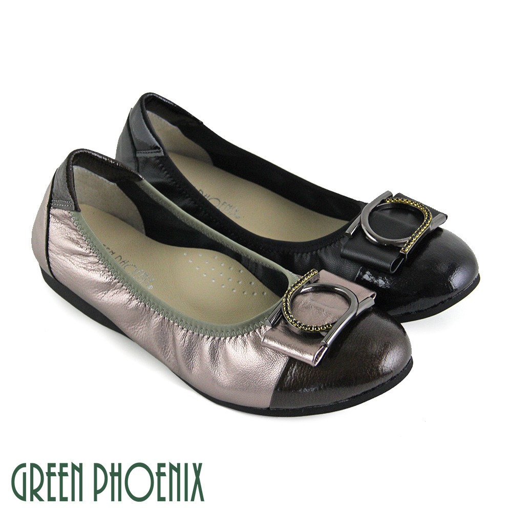 【GREEN PHOENIX】金屬圓型壓克力水鑽束口全真皮平底娃娃鞋