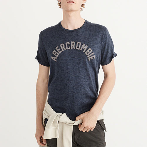 A&F麋鹿Abercrombie&Fitch 經典刺繡文字舒適材質短袖T恤-深藍色 123-238-2225-200