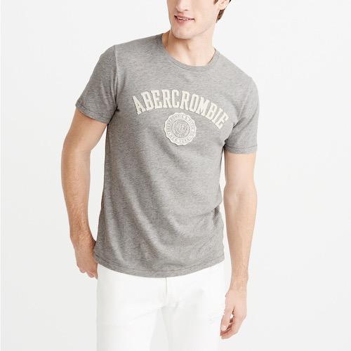 A&F麋鹿Abercrombie&Fitch 經典刺繡文字徽章設計短袖T恤-白色 123-238-2395-120