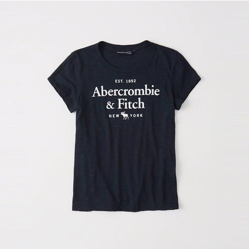 A&F麋鹿Abercrombie&Fitch 經典印刷文字大麋鹿短袖T恤(女)-深藍色 157-576-0027-200
