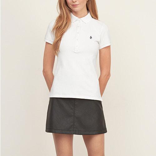 A&F麋鹿Abercrombie&Fitch 經典文字設計短袖Polo衫(女)-白色 151-526-0072-100