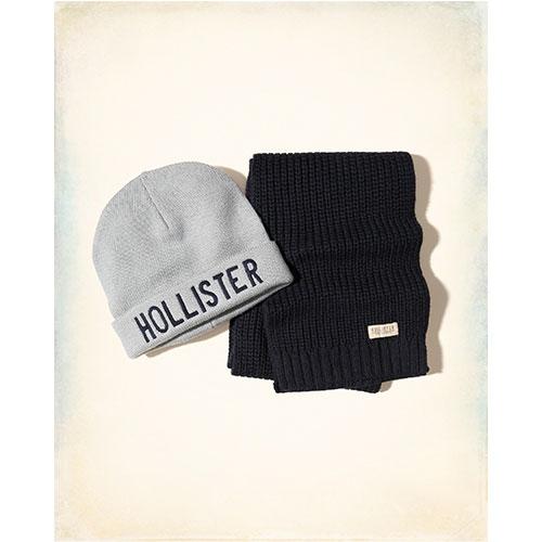 Hollister 海鷗 經典文字設計圍巾毛帽組-混色 316-712-0151-200