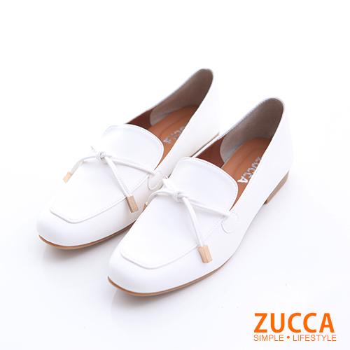 ZUCCA【z6505we】細綁繩尖頭紳士鞋-白色