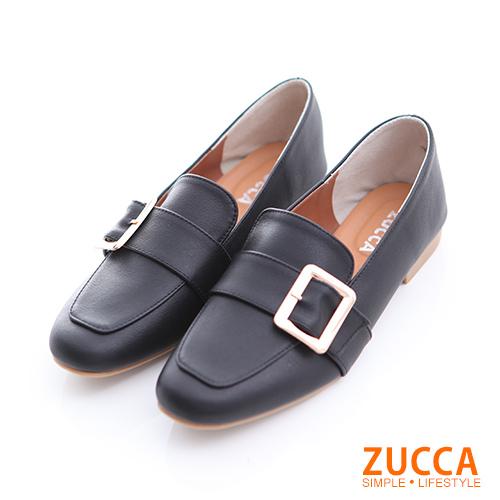 ZUCCA【z6506bk】金屬扣面尖頭紳士鞋-黑色