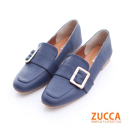 ZUCCA【z6506be】金屬扣面尖頭紳士鞋-藍色