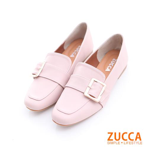 ZUCCA【z6506pk】金屬扣面尖頭紳士鞋-粉色